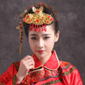 Simple Bride Chinese style Costume Tassel Phoenix Coronet Cheongsam Wedding jewelry Bridal Hair Accessories