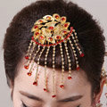 Simple Bride Flower Tassel Phoenix Coronet Hair Comb Cheongsam Wedding Bridal Hair Accessories