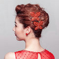 Unique Butterfly Red Crystal Bridal Hair Combs Vintage Wedding Dress Bride Headband Hair Accessories