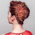 Unique Peacock Red Crystal Bridal Hair Combs Vintage Wedding Dress Bride Headband Hair Accessories