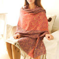 Classic Autumn and Winter Cape Tassels Floral Print Shawl National Style Warm Long Scarf - Pink