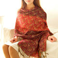 Classic Autumn and Winter Cape Tassels Floral Print Shawl National Style Warm Long Scarf - Red