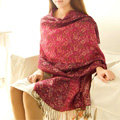 Classic Autumn and Winter Cape Tassels Floral Print Shawl National Style Warm Long Scarf - Rose