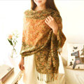 Classic Autumn and Winter Cape Tassels Floral Print Shawl National Style Warm Long Scarf - Yellow