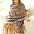 Classic Autumn and Winter Cape Tassels Flower Print Shawl National Style Warm Long Scarf - Blue