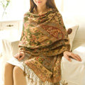Classic Autumn and Winter Cape Tassels Flower Print Shawl National Style Warm Long Scarf - Green