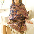 Classic Autumn and Winter Cape Tassels Flower Print Shawl National Style Warm Long Scarf - Purple