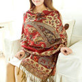Classic Autumn and Winter Cape Tassels Flower Print Shawl National Style Warm Long Scarf - Red