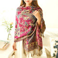 Classic Autumn and Winter Cape Tassels Flower Print Shawl National Style Warm Long Scarf - Rose