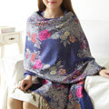 Hot sell Autumn and Winter Cape Tassels Flower Print Shawl National Style Warm Long Scarf - Blue