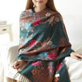 Hot sell Autumn and Winter Cape Tassels Flower Print Shawl National Style Warm Long Scarf - Dark green