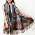 Hot sell Autumn and Winter Cape Tassels Flower Print Shawl National Style Warm Long Scarf - Gray