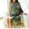 Hot sell Autumn and Winter Cape Tassels Flower Print Shawl National Style Warm Long Scarf - Green