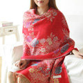 Hot sell Autumn and Winter Cape Tassels Flower Print Shawl National Style Warm Long Scarf - Red