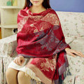 Hot sell Extra large Jacquard Tassels Cape Floral Print Stripes Shawl National Style Warm Long Scarf - Red