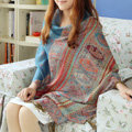 New Extra large Jacquard Tassels Cape Floral Print Stripes Shawl National Style Warm Long Scarf - Blue
