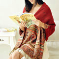 New Extra large Jacquard Tassels Cape Floral Print Stripes Shawl National Style Warm Long Scarf - Red