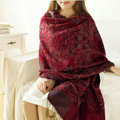Unique Extra large Jacquard Tassels Cape Floral Print Shawl National Style Warm Long Scarf - Burgundy