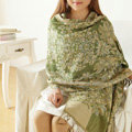 Unique Extra large Jacquard Tassels Cape Floral Print Shawl National Style Warm Long Scarf - Green