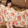 Classic Beautiful Floral Printing Wool Scarf Shawls Women Long Warm Pashmina Cape - Orange