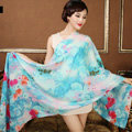 Classic Beautiful Flower Printing Wool Scarf Shawls Women Long Warm Pashmina Cape - Blue
