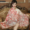 Classic Beautiful Flower Printing Wool Scarf Shawls Women Long Warm Pashmina Cape - Red
