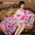 Classic Beautiful Flower Printing Wool Scarf Shawls Women Long Warm Pashmina Cape - Rose