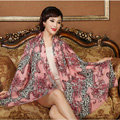 Classic Beautiful Leopard Printing Wool Scarf Shawls Women Long Warm Pashmina Cape - Pink