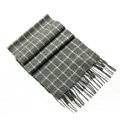 Classic England Lattice Long Wool Scarf Man Winter Thicken Cashmere Tassels Muffler - Gray