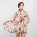 Classic Flower Printing Wool Shawls Scarf Women Long Warm Pashmina Cape - Coffee