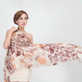 Classic Leopard Printing Wool Shawls Scarf Women Long Warm Pashmina Cape - Coffee