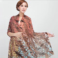 Classic Leopard Printing Wool Shawls Scarf Women Long Warm Pashmina Cape - Orange