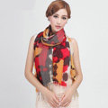 Classic Leopard Printing Wool Shawls Scarf Women Long Warm Pashmina Cape - Red