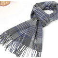 Classic Plaid Long Wool Scarf Man Winter Thicken Business Casual Cashmere Tassels Muffler - Gray Blue