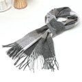 Classic Plaid Long Wool Scarf Man Winter Thicken Business Casual Cashmere Tassels Muffler - Gray