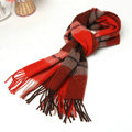 Classic Plaid Long Wool Scarf Man Winter Thicken Business Casual Cashmere Tassels Muffler - Red