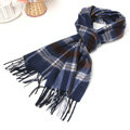 Classic Plaid Long Wool Scarf Man Winter Thicken Business Casual Cashmere Tassels Muffler - White Blue