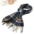 Classic Plaid Long Wool Scarf Man Winter Thicken Business Casual Cashmere Tassels Muffler - Yellow Blue