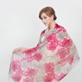 Classic Rose Flower Printing Wool Shawls Scarf Women Long Warm Pashmina Cape - Pink