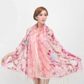 Classic Round Flower Printing Wool Shawls Scarf Women Long Warm Pashmina Cape - Pink
