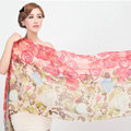Classic Round Flower Printing Wool Shawls Scarf Women Long Warm Pashmina Cape - Red