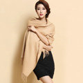 Classic Solid Color Long Wool Shawls Berber Fleece Scarf Women Winter Thicken Tassels Cape - Camel