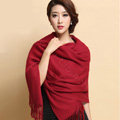 Classic Solid Color Long Wool Shawls Berber Fleece Scarf Women Winter Thicken Tassels Cape - Dark Red