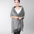 Classic Solid Color Wool Shawls Rex Rabbit Fur Scarf Women Winter Thicken Pashmina Cape - Gray