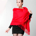 Classic Solid Color Wool Shawls Rex Rabbit Fur Scarf Women Winter Thicken Pashmina Cape - Red