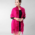 Classic Solid Color Wool Shawls Rex Rabbit Fur Scarf Women Winter Thicken Pashmina Cape - Rose