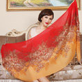 Economic Flower Printing Tassels Wool Scarf Shawls Women Winter Long Warm Pashmina Cape - Red