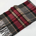 Fashion England Lattice Long Wool Scarf Man Winter Thicken Cashmere Tassels Muffler - Beige+Red