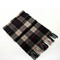 Fashion England Lattice Long Wool Scarf Man Winter Thicken Cashmere Tassels Muffler - Black+Beige