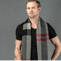 Fashion England Lattice Long Wool Scarf Man Winter Thicken Cashmere Tassels Muffler - Black+Gray